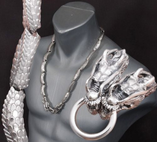 heavy japanese dragon 925 sterling silver mens biker necklace chain