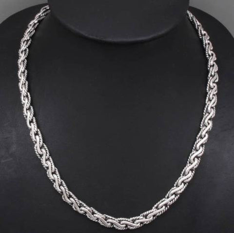 Artisan tribal braided chain 925 sterling solid silver mens artisan tribal braided chain 925 sterling solid silver mens necklace mozeypictures Choice Image