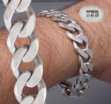CLASSIC HEAVY CURB CUBAN LINK CHAIN  925 STERLING SOLID SILVER MENS BRACELET