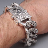 EXTREM BIG HEAVY CHUNKY BIKER CURB CHAIN SKULL 925 STERLING SILVER MENS BRACELET