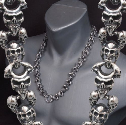 HUGE HEAVY MULTI SKULL 925 STERLING SILVER MENS ROCKER BIKER NECKLACE CHAIN