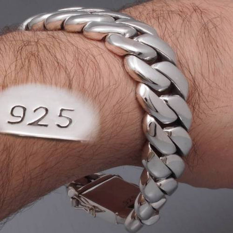 classic very heavy links chunky biker miami curb chain 925 sterling silver mens bracelet