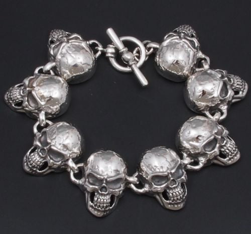 HUGE HEAVY SKULL TRIBAL 925 STERLING SOLID SILVER MENS ROCKER BIKER BRACELET