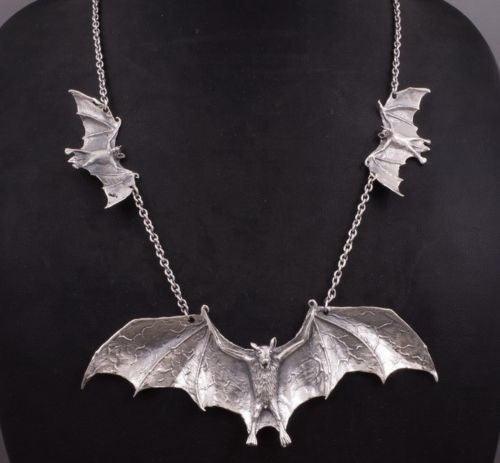 HUGE BAT BATMAN VAMPIRE 925 STERLING SOLID SILVER ART MENS NECKLACE