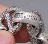 HUGE HEAVY CHUNKY JAPANESE DRAGON 925 STERLING SILVER MENS NECKLACE BIKER