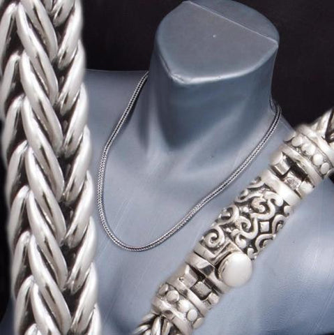 HANDMADE WOVEN BRAIDED SNAKE 925 STERLING SILVER MENS NECKLACE CHAIN