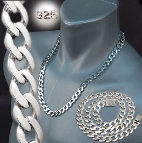 ROUNDED CURB LINKS CHAIN MENS NECKLACE 925 STERLING SOLID SILVER