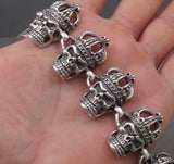 heavy crown king skull 925 sterling solid silver mens biker bracelet