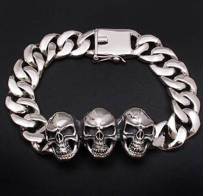 3 heads heavy skull curb chain links 925 sterling silver biker mens bracelet