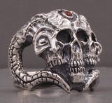huge heavy conan warrior skull skeleton 925 sterling solid silver ring biker rocker