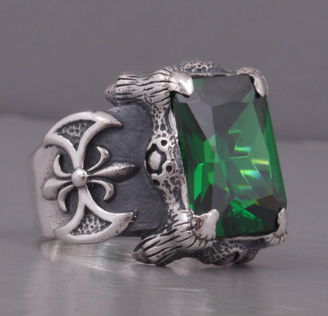 Details about  /GREEN TOPAZ WARRIOR KNIGHT AXE DRAGON SNAKE CLAW 925 STERLING SILVER MENS RING