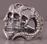 21g HUGE HEAVY MULTI SKULL SNAKE CONAN 925 STERLING SOLID SILVER MENS RING