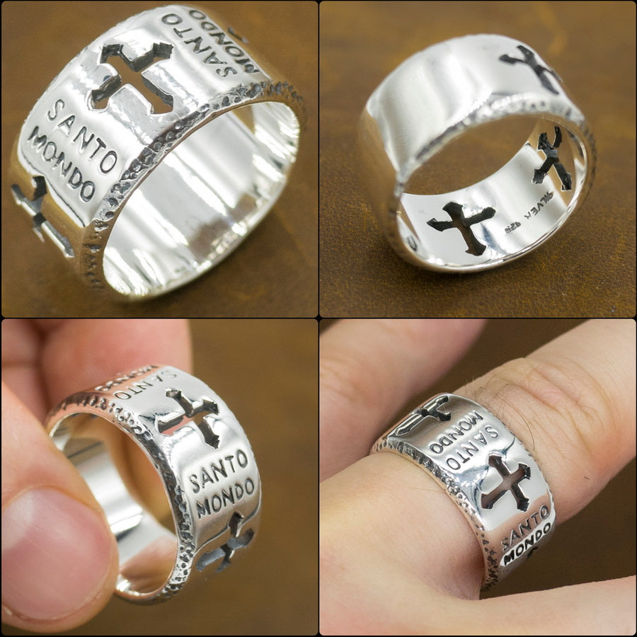 santo mondo holy world crucifix cross 925 sterling silver mens ring