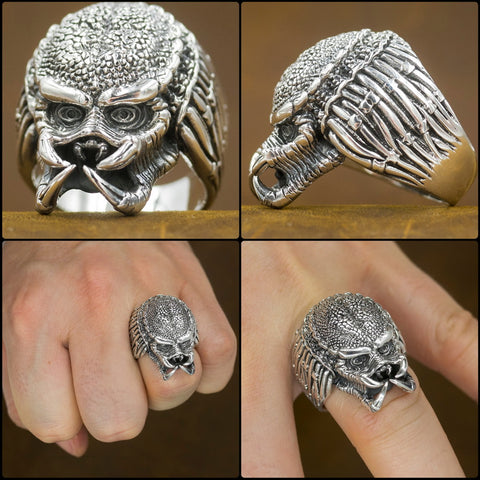 Amazing AVP alien vs predator head warrior 925 sterling silver ring