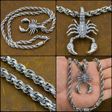 huge tribal scorpion bali chain 925 sterling solid silver mens necklace
