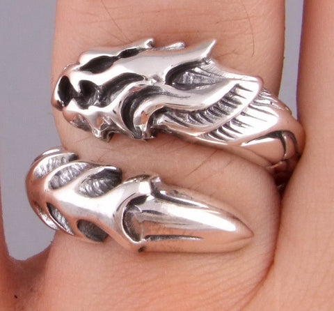 SNAKE DRAGON 925 STERLING SOLID SILVER MENS RING