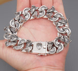 huge heavy cobra snake 925 sterling solid silver mens biker jewelry bracelet link