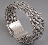 WIDE WOVEN BRAIDED TRIBAL 925 STERLING SOLID SILVER MENS BRACELET