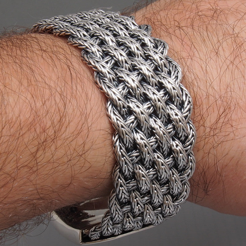 1531ad954412 WIDE WOVEN BRAIDED TRIBAL 925 STERLING SOLID SILVER MENS BRACELET – Sweet  Biker Store 925