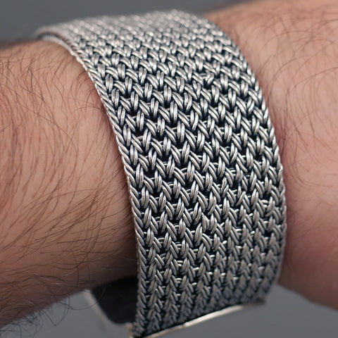 EXTRA WIDE FINE WOVEN BRAIDED TRIBAL ART 925 STERLING SOLID SILVER MENS BRACELET