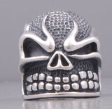 20.5g HUGE & HEAVY BIKER FLAME SKULL 925 STERLING SOLID SILVER MENS RING