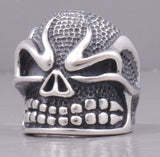 huge skull skeleton 925 sterling solid silver ring biker rocker