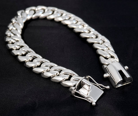 HEAVY LINKS BIKER CURB CHAIN 925 STERLING SOLID SILVER MENS BRACELET