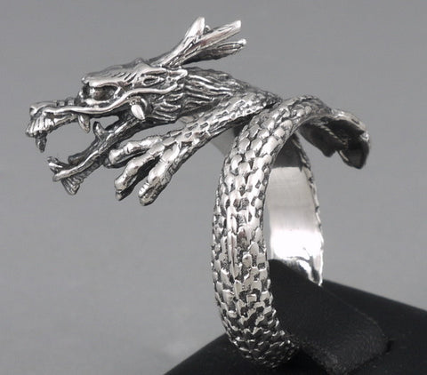 JAPANESE DRAGON SNAKE 925 STERLING SOLID SILVER MENS RING