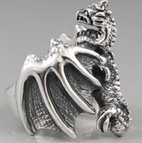 25g HUGE HEAVY WHOLE BODY DRAGON 925 STERLING SOLID SILVER MENS RING