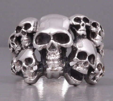 multi skull 925 sterling solid silver ring biker rocker