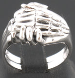 9g LIFE & DEATH HAND IN HAND SKULL SKELETON 925 STERLING SOLID SILVER RING