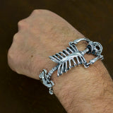 whole body skeleton skull 925 sterling silver mens biker bracelet