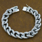 HUGE CHUNKY TRIBAL CURB CUBAN LINKS MENS BRACELET 925 STERLING SILVER