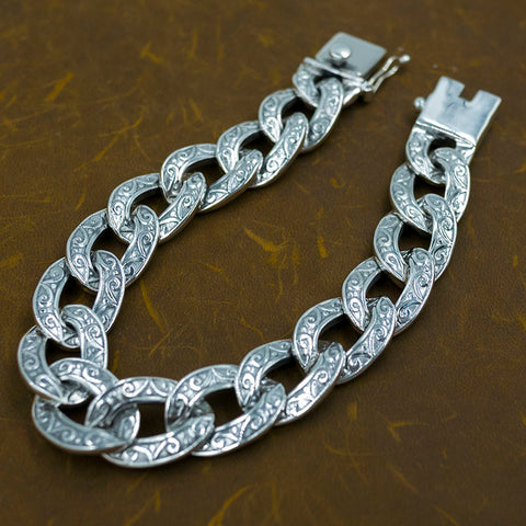 cuban links huge heavy tribal floral curb link mens bracelet 925 sterling silver