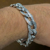 HUGE HEAVY TRIBAL FLORAL CURB CUBAN LINKS MENS BRACELET 925 STERLING SILVER