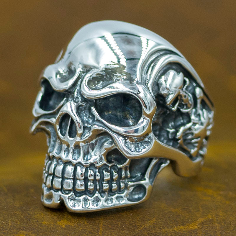 24g huge heavy biker skull skeleton 925 sterling solid silver mens ring