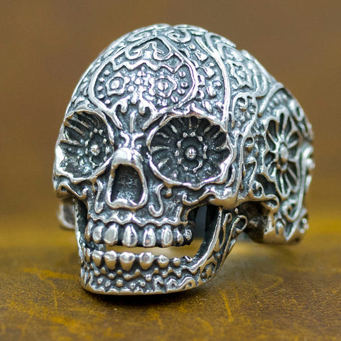 mexican sugar tribal floral skull 925 sterling silver ring