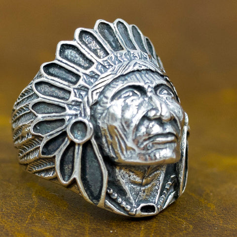 indian head feathers 925 sterling silver ring