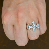 skull cross blade tribal skull 925 sterling silver ring