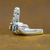 fuck you biker rocker hand middle finger 925 sterling silver ring