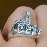 fuck you middle finger biker rocker punk mens 925 sterling silver ring