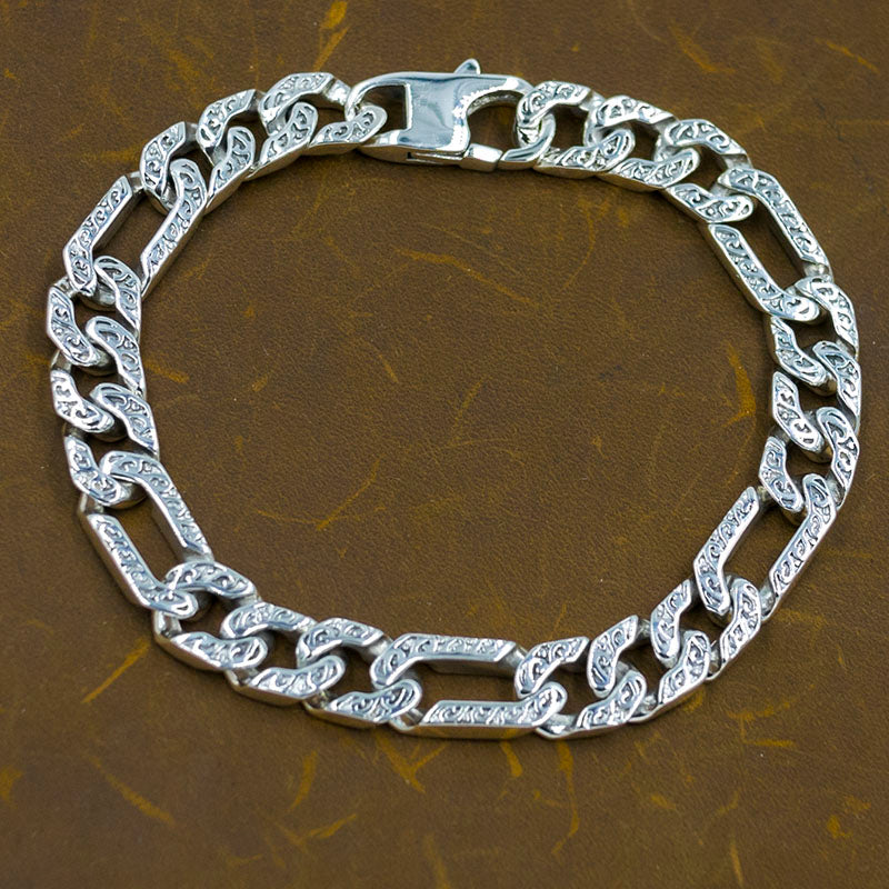 designed curb cuban chain link 925 sterling solid silver mens bracelet