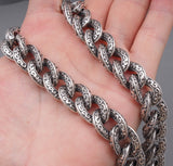 VERY HEAVY TRIBAL CURB 925 STERLING SILVER MENS BIKER NECKLACE CHAIN
