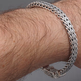 CELTIC STYLE CLASP WOVEN BRAIDED TRIBAL 925 STERLING SOLID SILVER MENS BRACELET