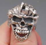 22g HUGE HEAVY SKELETON HAND SKULL 925 STERLING SOLID SILVER MENS RING