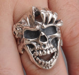 huge heavy claw skull skeleton 925 sterling solid silver ring biker rocker