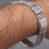 woven multi bali byzantine braided tribal 925 sterling solid silver mens bracelet