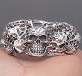 heavy skull biker mens cuff bangle bracelet 925 sterling silver