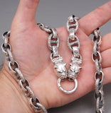 HUGE HEAVY CHUNKY LINK BULLDOG 925 STERLING SOLID SILVER MENS NECKLACE CHAIN