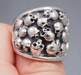 heavy multi skull 925 sterling silver ring